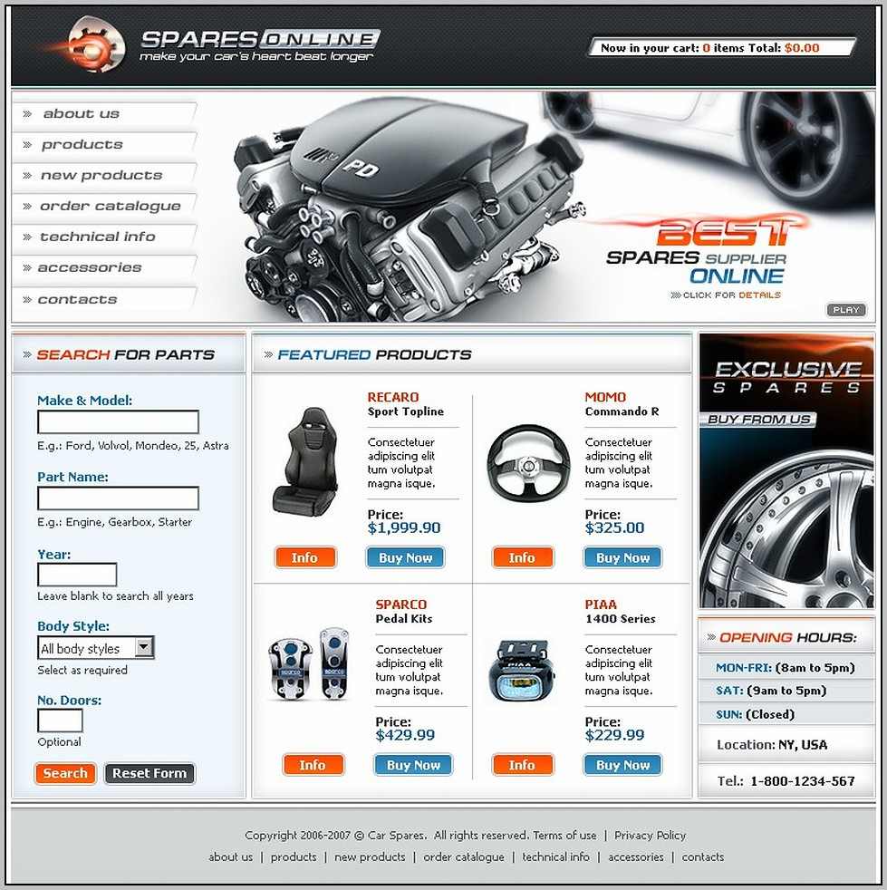Auto Parts Website Template