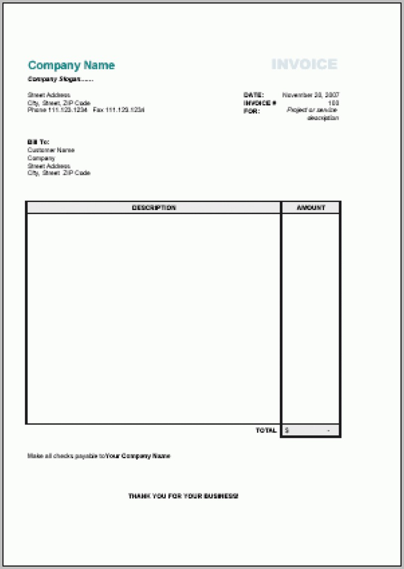 Simple Invoice Template Uk | Printable Invoice Template