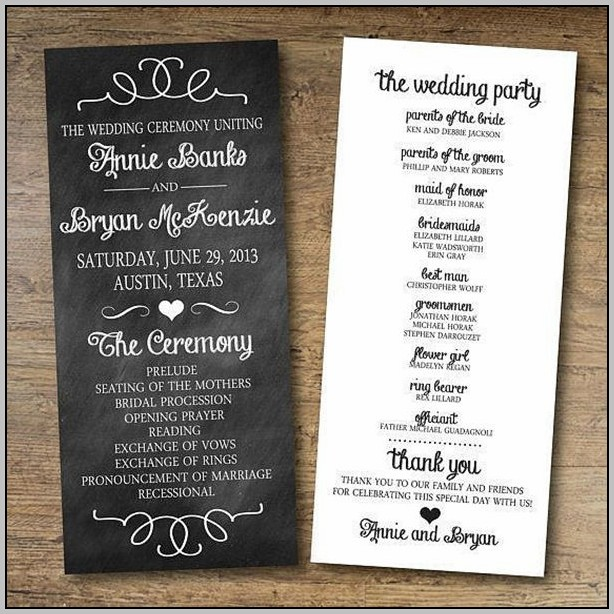 Basic Wedding Program Template