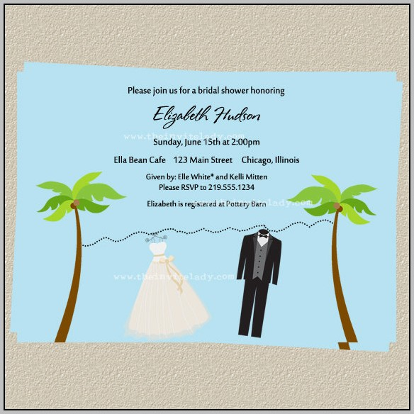 Beach Theme Bridal Shower Invitation Template
