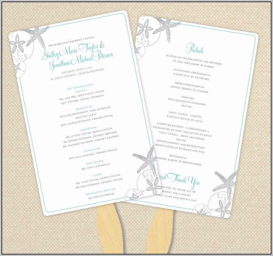 Beach Theme Wedding Program Templates