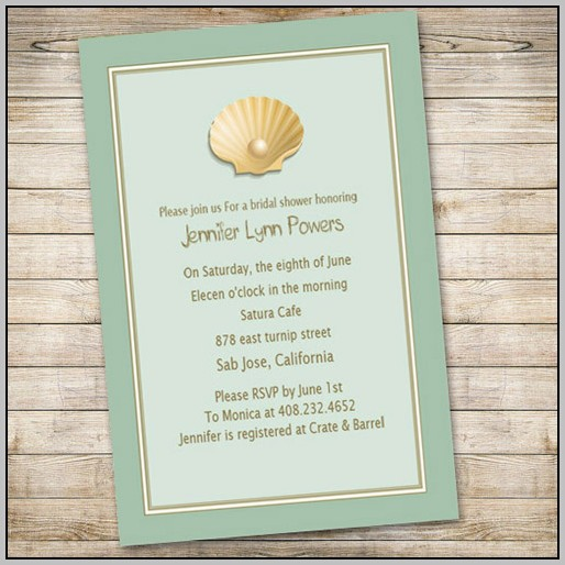 Beach Wedding Bridal Shower Invitations