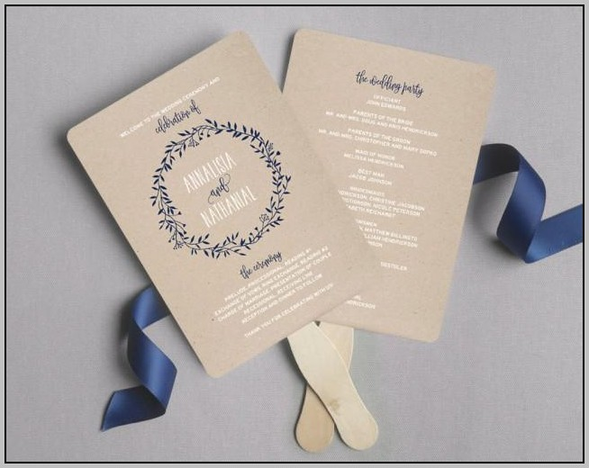 Beach Wedding Program Fan Template