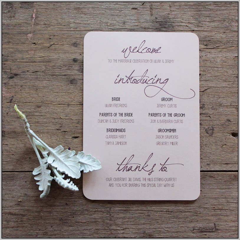 Beautiful Wedding Programs