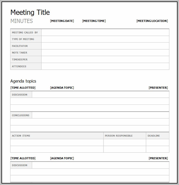 Best Meeting Minutes Template