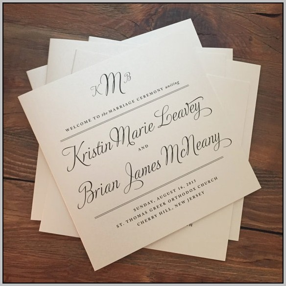 Bi Fold Wedding Program Template