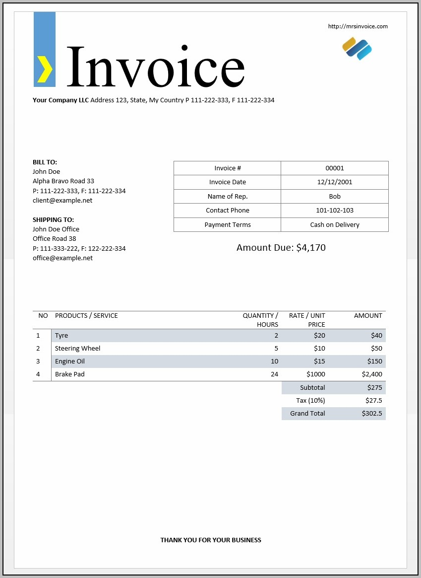 Bill Invoice Format In Word Free Download