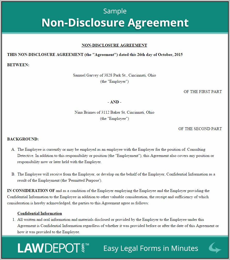 Binding Non Disclosure Agreement