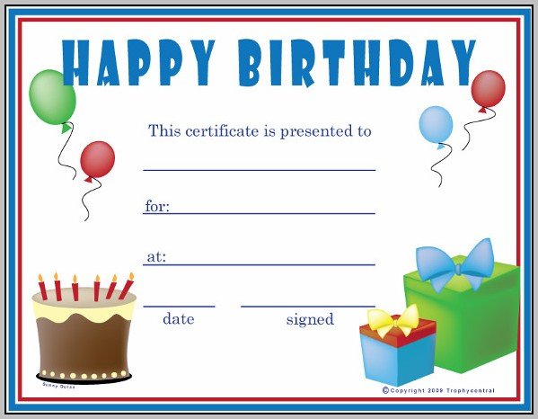 Birthday Gift Certificate Template Microsoft Word