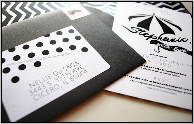 Black And White Wedding Shower Invitations