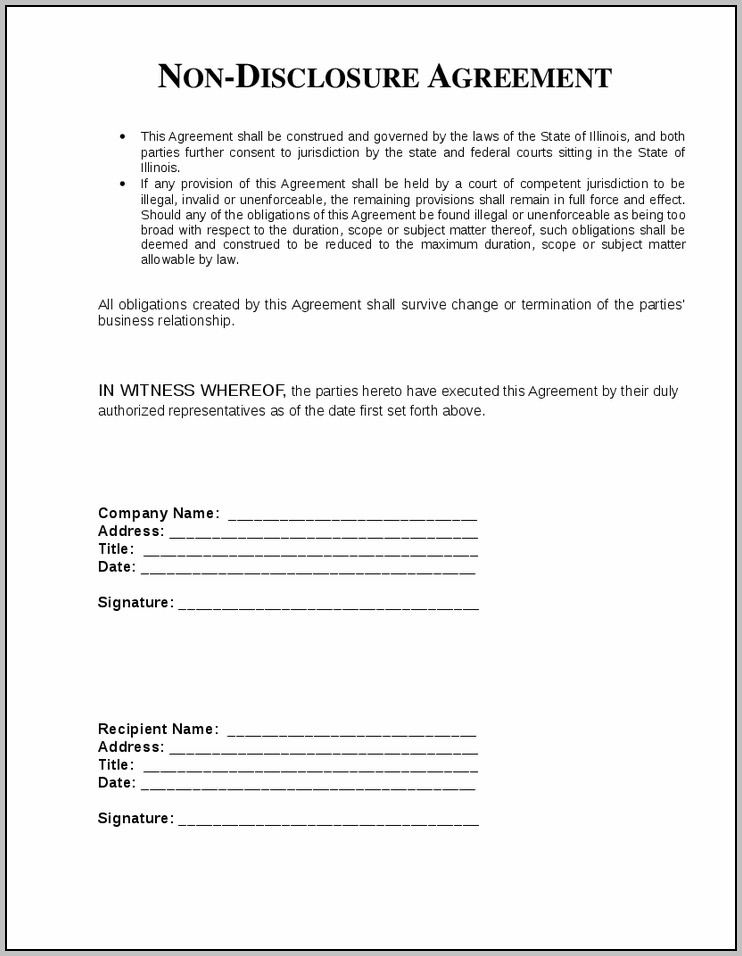 Blank Confidentiality Agreement