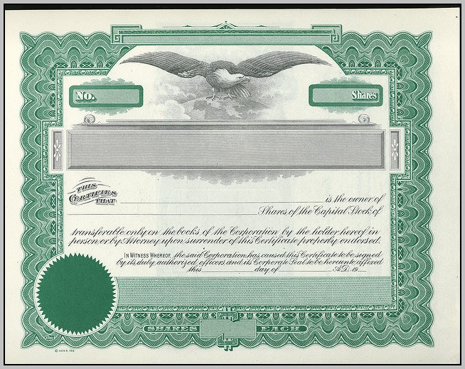 Blank Corporate Stock Certificates