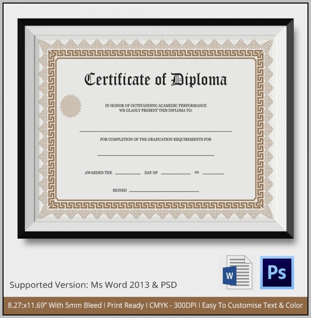 Blank Diploma Template Microsoft Word