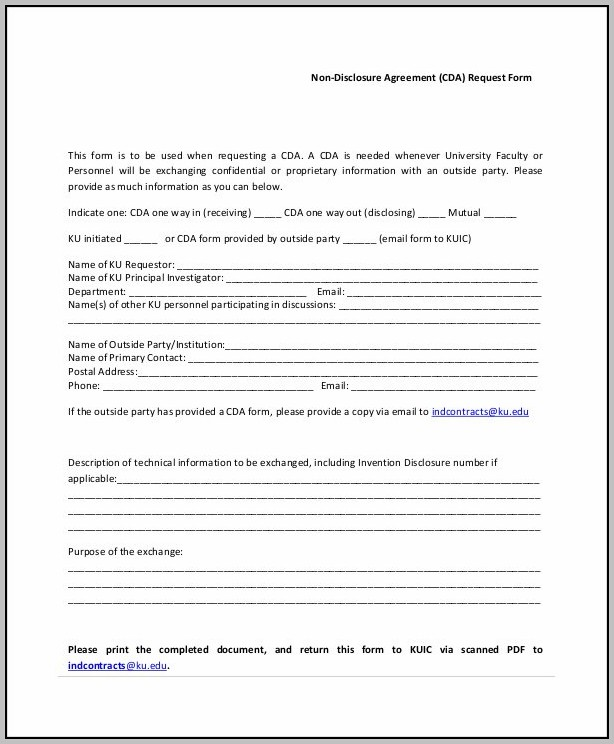 Blank Non Disclosure Agreement Template