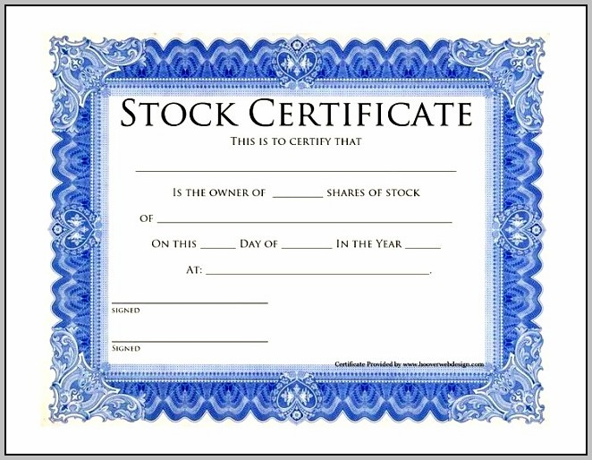 Blank Share Certificate Template