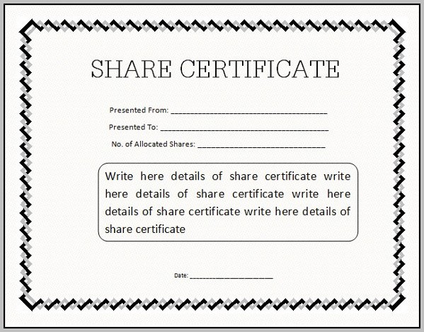 Blank Share Certificates Free Download