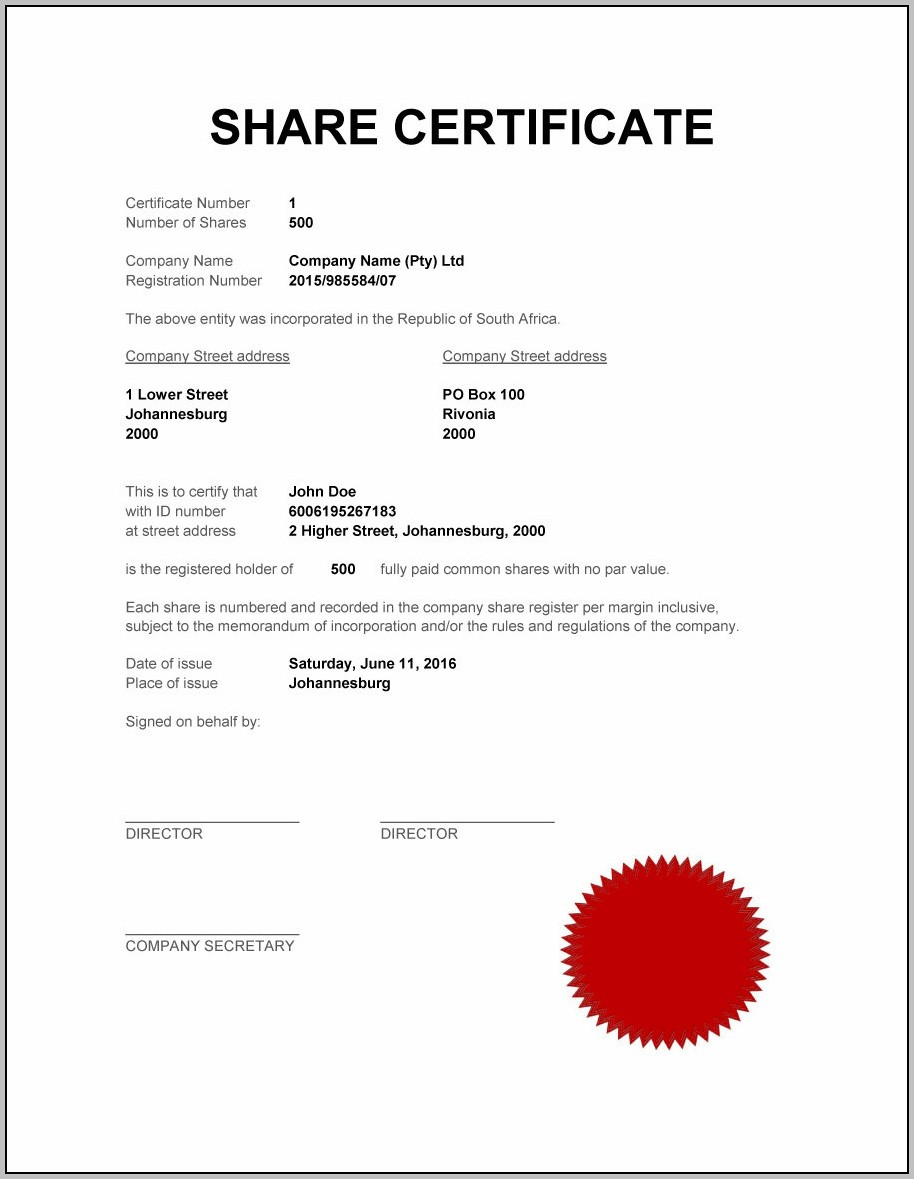 Blank Share Certificates Free