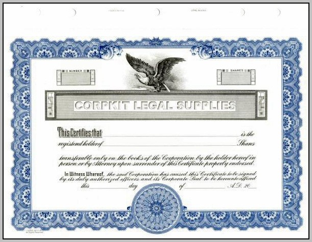 Blank Stock Certificate Paper