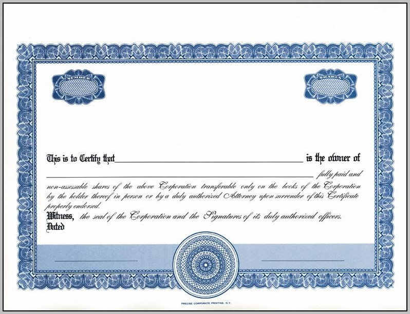 Blank Stock Certificates Printable