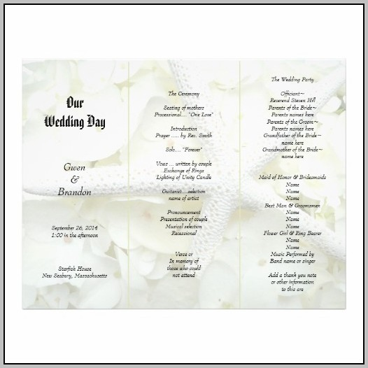 Blank Wedding Program Template