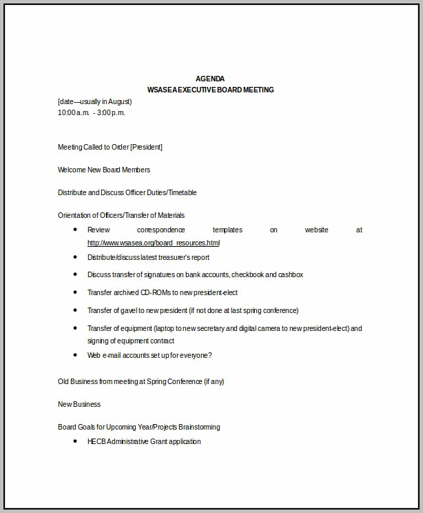 Board Meeting Schedule Template