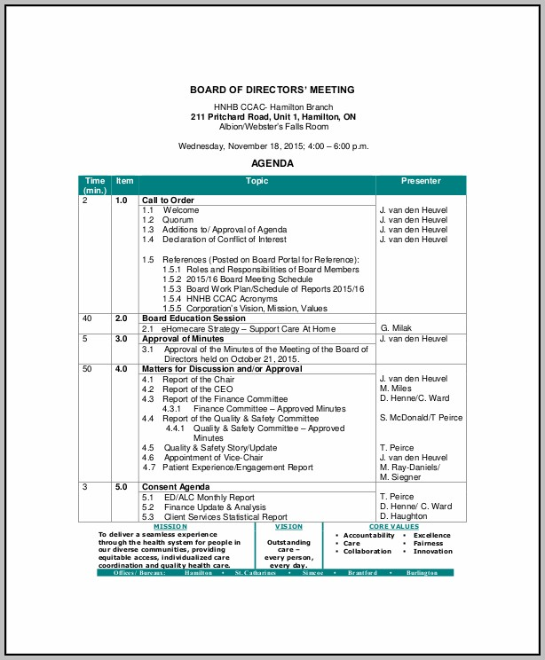 Board Of Directors Meeting Agenda Format