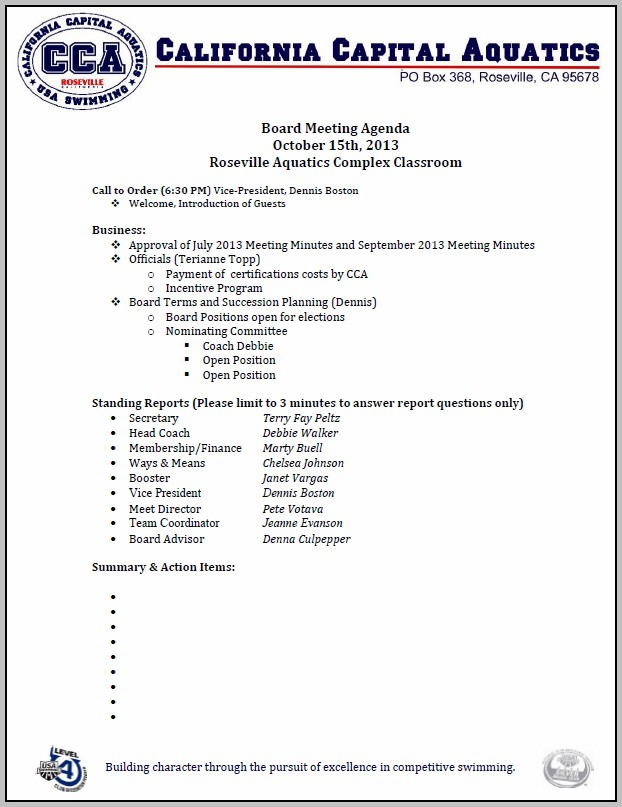 Board Of Directors Meeting Agenda Template