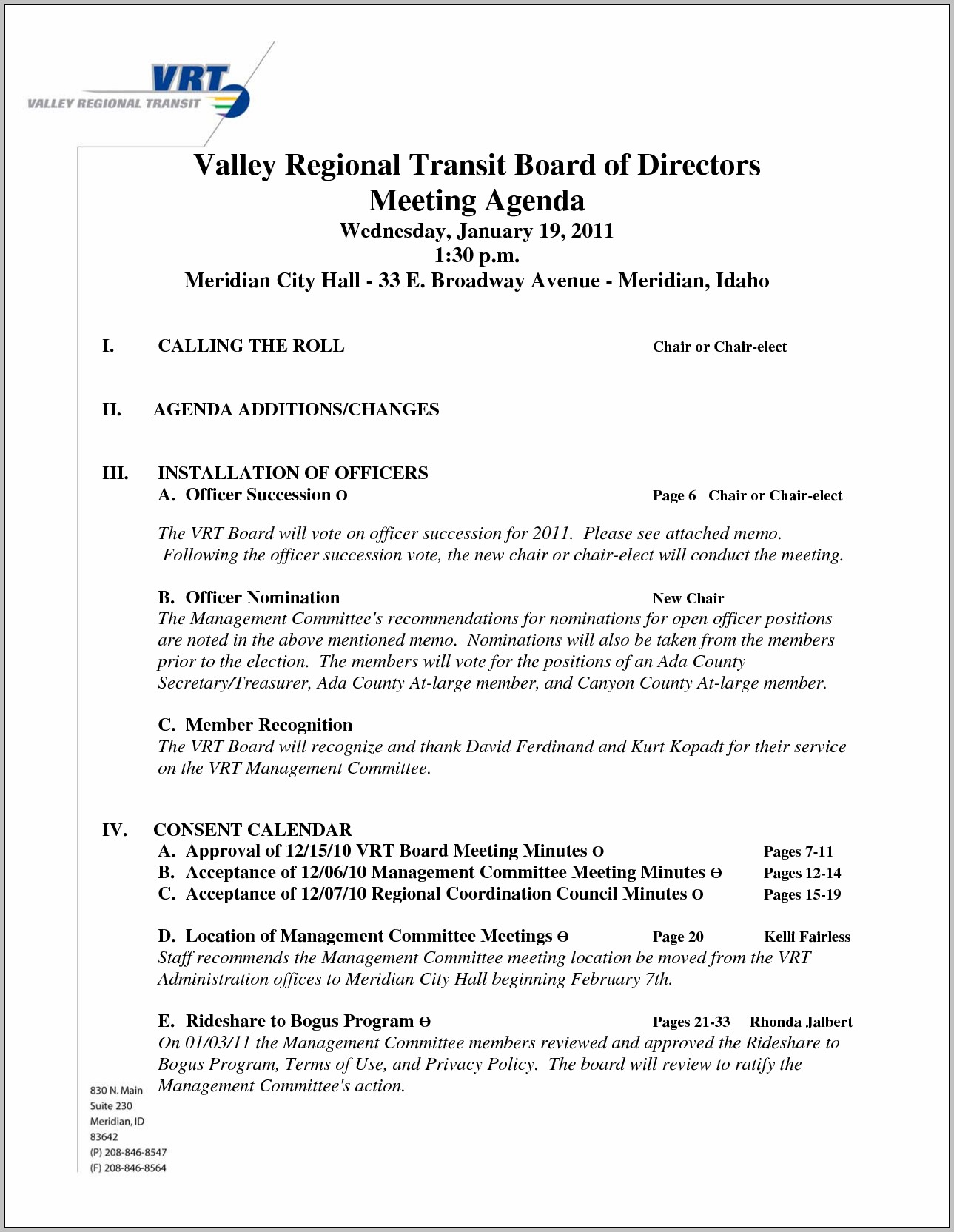 Board Of Directors Meeting Agenda