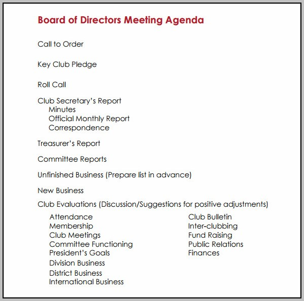 Board Of Directors Meeting Template