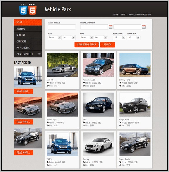 Bootstrap Car Rental Template