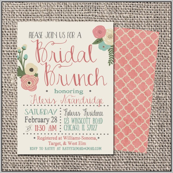 Bridal Brunch Invitations Template