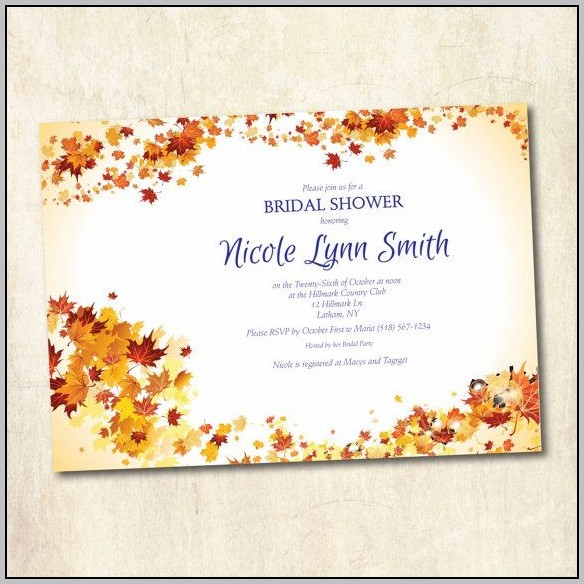 Bridal Shower Fall Invitations