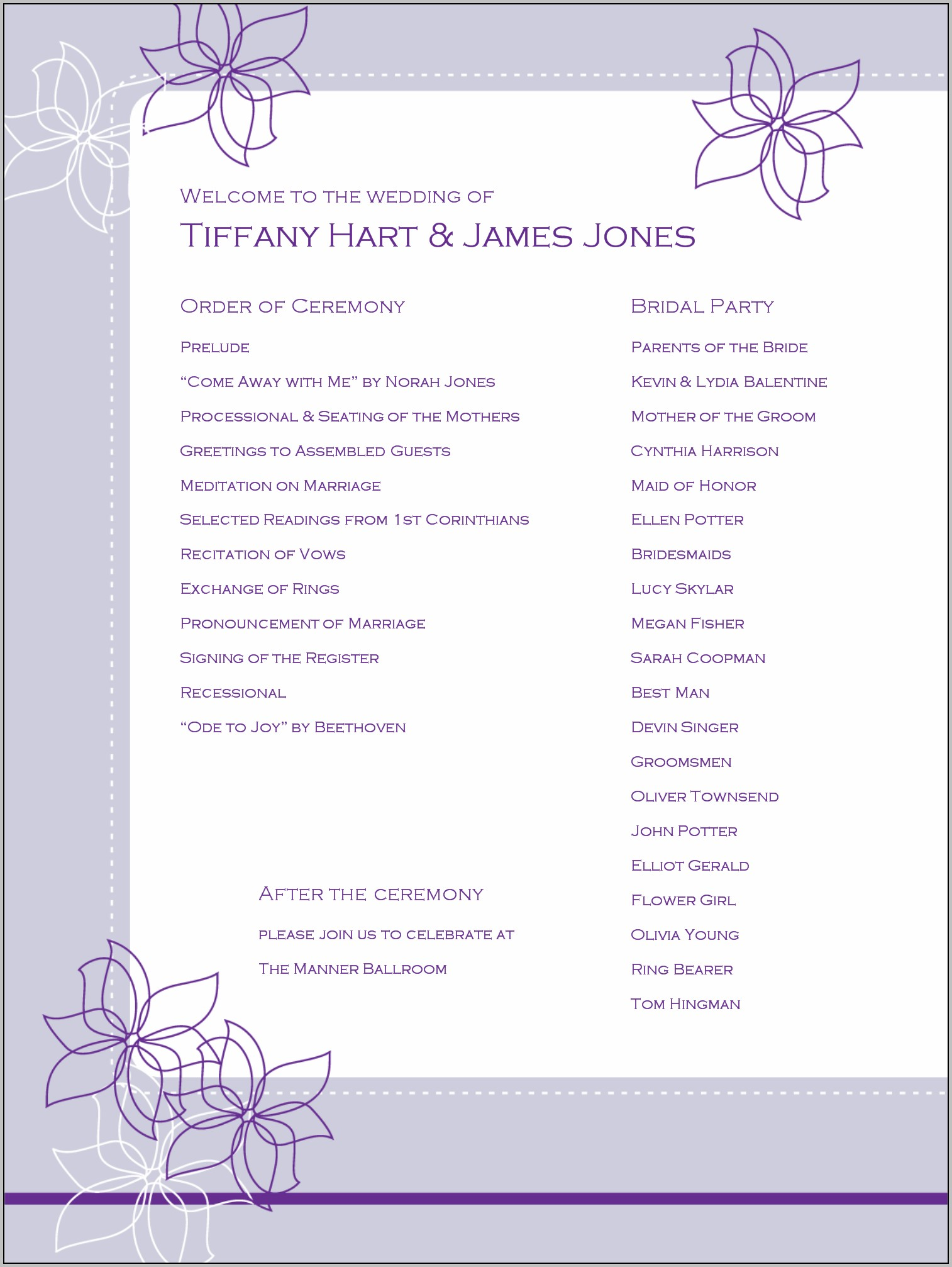 Bridal Shower Program Template