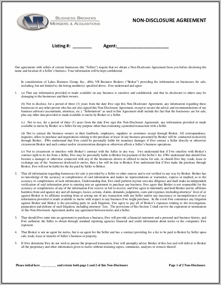 Broker Confidentiality Agreement