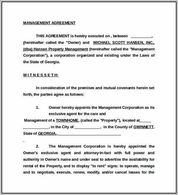 Business Management Agreement Sample