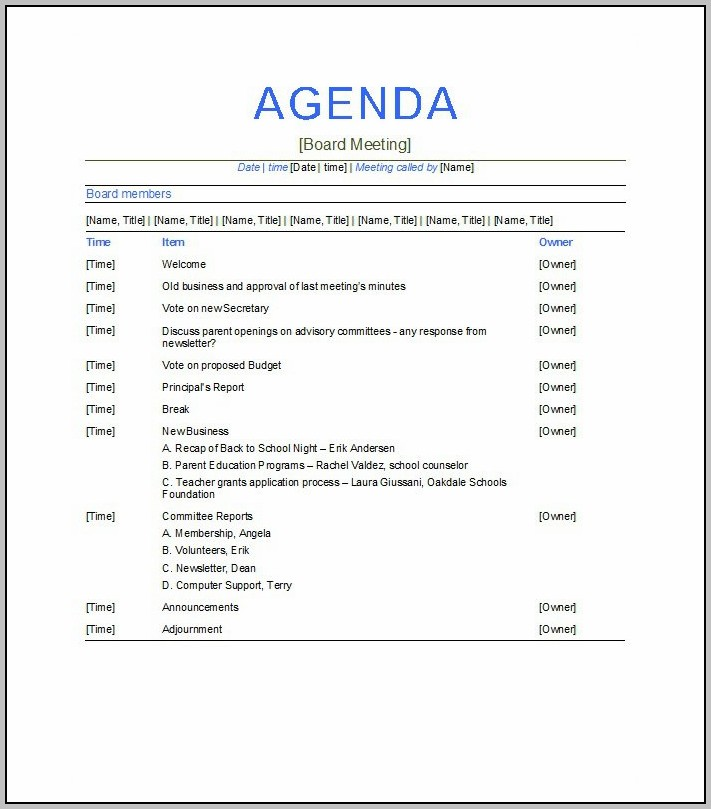 Business Meeting Agenda Sample