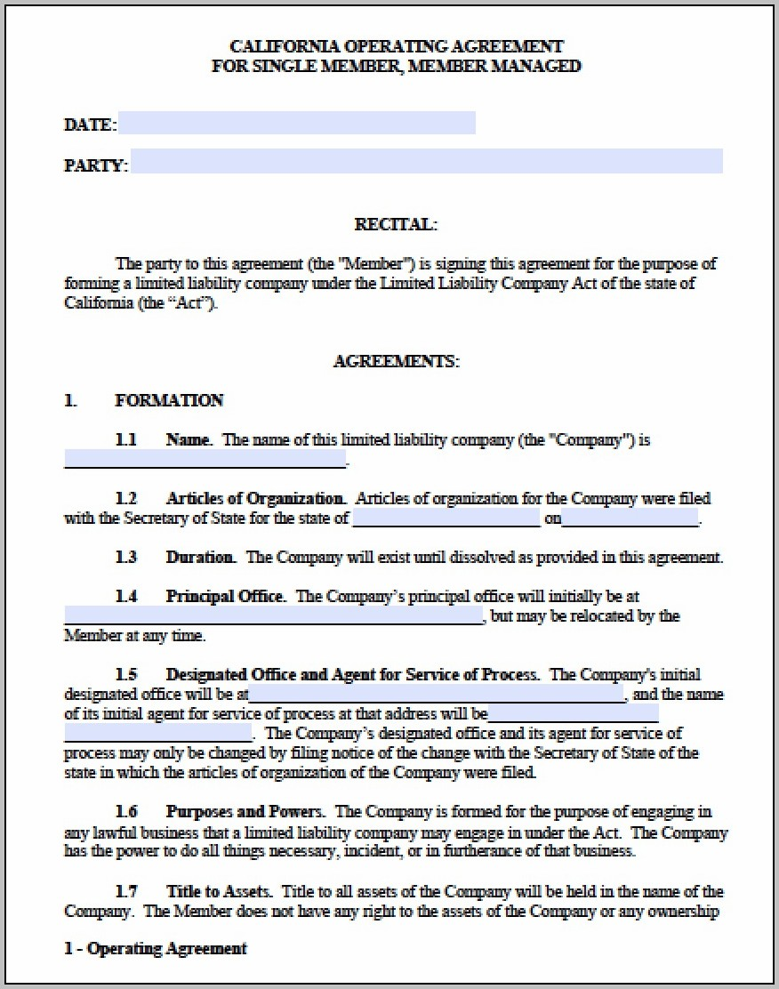 California Multi Member Llc Operating Agreement