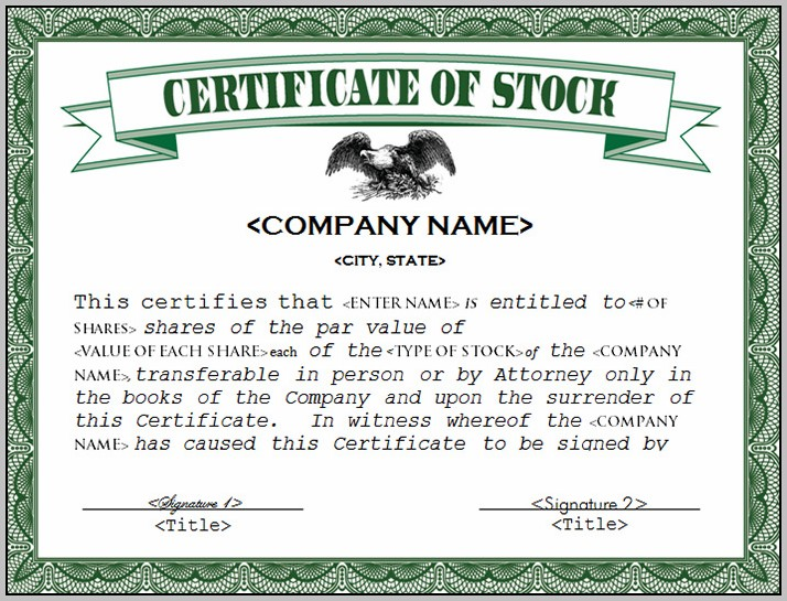 California Stock Certificate Form