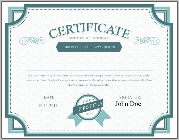 California Stock Certificate Template