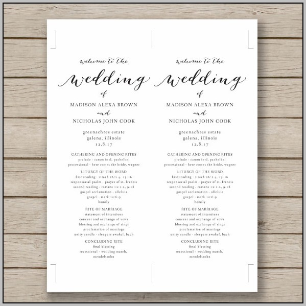 Catholic Wedding Program Template Free