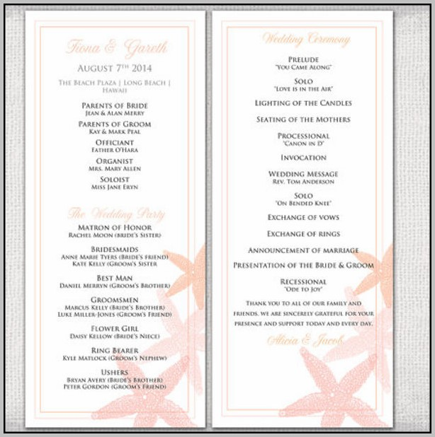 Ceremony Program Wording