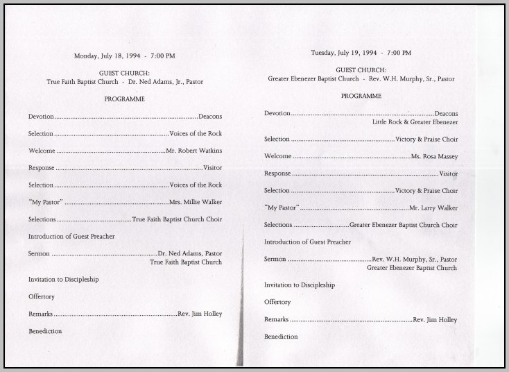 Church Anniversary Program Sample