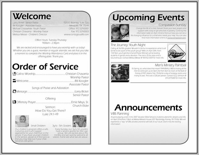 Church Bulletin Layout Ideas
