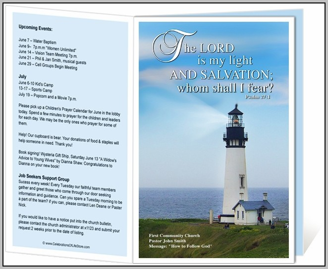 Church Bulletin Templates Word