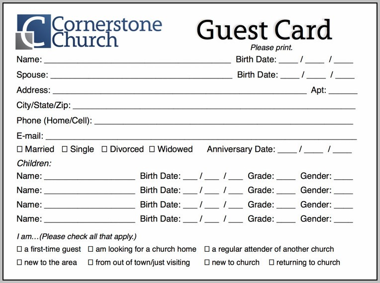 Church Information Card Template