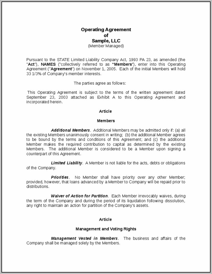 Copy Of Llc Operating Agreement