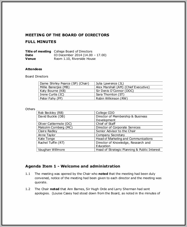Corporate Board Meeting Agenda Template