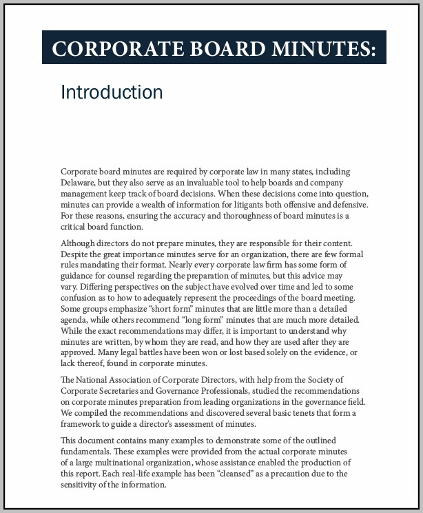 Corporate Minutes Example