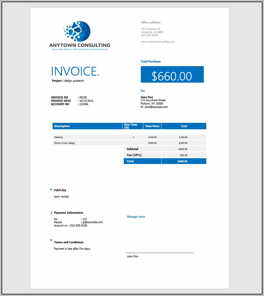 Create An Invoice Template