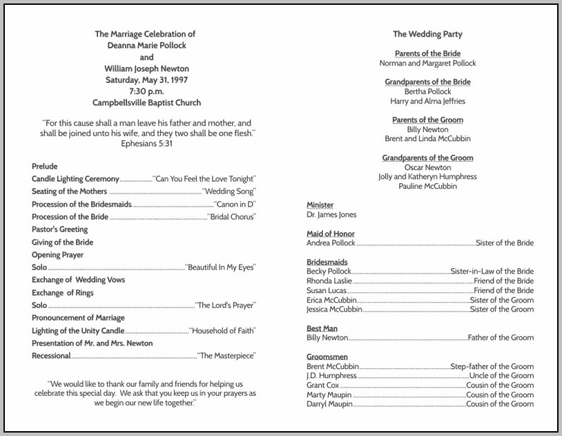 Each Wedding Program Templates